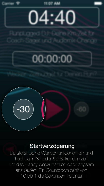 (APP) Runplugged Startverzögerung: Du stellst Deine Wunschfunktionen ein und hast dann 30 oder 60 Sekunden Zeit, um das Handy wegzupacken oder langsam anzulaufen. Ein Countdown zählt von 10 bis 1 die Sekunden herunter - Appdownload unter http://bit.ly/1lbuMA9