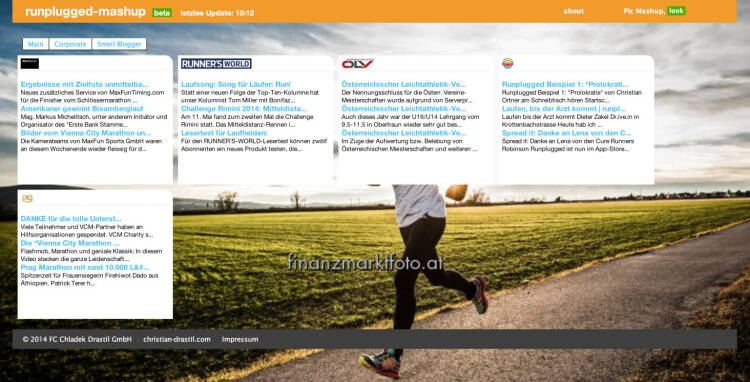 Neu seit 14.5: http://finanzmarktmashup.at/mashup/runplugged . RSS-Feeds aus dem Laufsportbereich willkommen